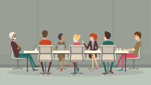 ilustración personas en una mesa redonda representa la facebook supreme court en blog de t7marketing